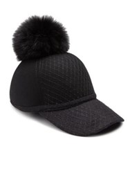 House Of Lafayette Fox Fur Pom Pom And Wool Baseball Cap Black