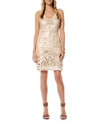 Laundry By Shelli Segal Faux Leather Laser Cut Sheath Dress Champagne
