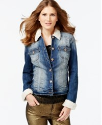 Inc International Concepts Faux Fur Mid Indigo Wash Trucker Jacket Only At Macy's