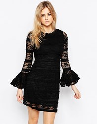 Motel Clemintine Victorian Dress In Lace Black
