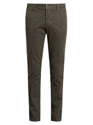 Incotex Slim Leg Micro Weave Cotton Blend Chino Trousers Grey