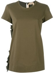 N 21 Nao21 Side Ruffle T Shirt Green