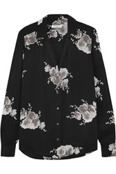 Equipment Adalyn Floral Print Washed Silk Shirt Black