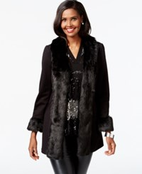 Inc International Concepts Faux Fur Trim Long Jacket Only At Macy's Deep Black