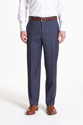 Canali Men's Big And Tall Flat Front Wool Trousers Blue