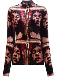 Jean Paul Gaultier Vintage Printed Velvet Shirt Red