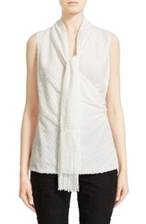 St. John Women's Collection Fringed Fil Coupe Shell With Detachable Scarf Frost