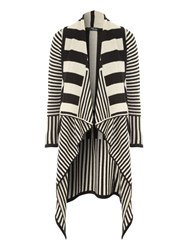 Jane Norman Mono Stripe Waterfall Cardigan Multi Coloured