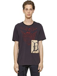 Dries Van Noten Satin Patch On Printed Cotton T Shirt