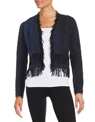 Elie Tahari Misha Fringed Tweed Blazer Black
