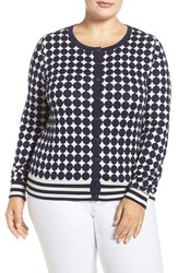 Foxcroft Plus Size Women's Dot And Stripe Cotton Blend Cardigan