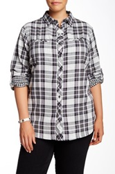 Sandra Ingrish Double Face Plaid Shirt Plus Size Black