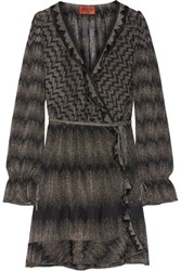 Missoni Ruffle Trimmed Metallic Crochet Knit Wrap Dress Black