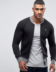 Armani Jeans Track Jacket With Contrast Panel Black With Grey