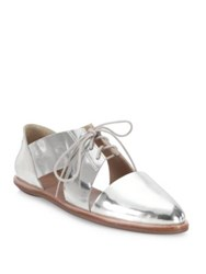 Loeffler Randall Willa Cutout Metallic Leather Oxfords Silver