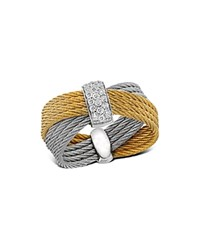 Alor Diamond Yellow And Gray Multi Band Cable Ring Gray Gold