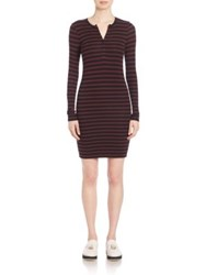 Atm Anthony Thomas Melillo Stripe Long Sleeve Dress Rust Black