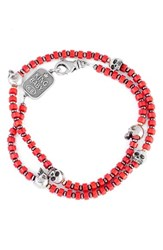 King Baby Studio Men's Coral Bead Wrap Bracelet