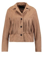 Set Leather Jacket Tigers Eye Beige