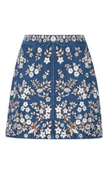 Needle And Thread Denim Embroidery High Waist Skirt Blue
