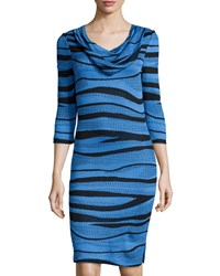 Ming Wang Striped And Studded Cowl Neck 3 4 Sleeve Dress Black Sapphire