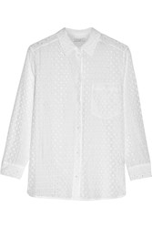 Sandro Colombe Broderie Anglaise Cotton And Silk Blend Top White