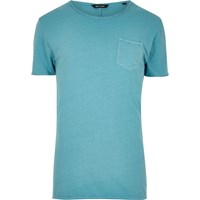 Only And Sons River Island Mens Blue Raw Edge T Shirt