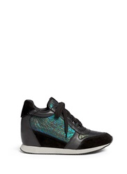 Ash 'Dream' Holographic Croc Effect Wedge Sneakers Metallic