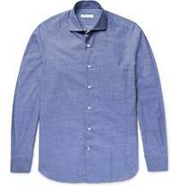 Loro Piana Alain Slim Fit End On End Cotton And Cashmere Blend Shirt Blue