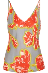 Jonathan Saunders Ginger Tulip Print Silk Twill Camisole Gray
