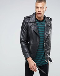 Selected Homme Plus Leather Biker Jacket Black
