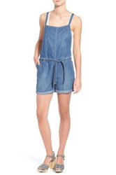 Hinge Straight Neck Denim Romper Blue