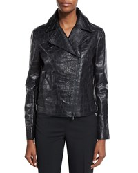 Bottega Veneta Crocodile Embossed Leather Moto Jacket Black Nero