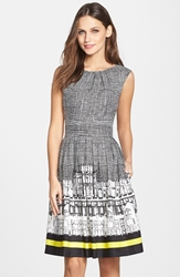 Border Print Twill Fit And Flare Dress Black White
