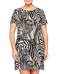 Melissa Masse Plus Zebra Print Short Sleeve Shift Dress Pewter Zebra