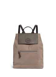 Tory Burch 'Ella' Packable Saffiano Leather Flap Nylon Backpack Grey
