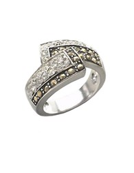 Lord And Taylor Sterling Silver Marcasite Crystal Bypass Ring