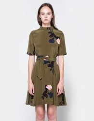 Ganni Donaldson Silk Mini Dress Dark Olive