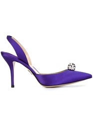 Paul Andrew Jewel Embellished Satin Pumps Pink And Purple
