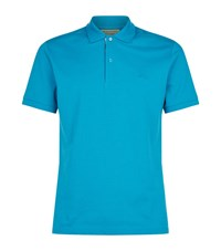 Burberry Check Trim Polo Top Male Turquoise