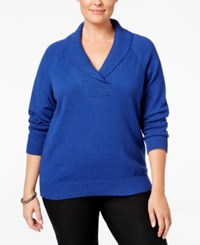 Karen Scott Plus Size Marled Shawl Collar Sweater Only At Macy's Bright Blue Marble