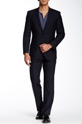 English Laundry Navy Pinstripe Two Button Notch Lapel Wool Suit Blue