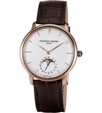 Frederique Constant Fc705v4s4 Classics Manufacture Slimline Moonphase Rose Gold Plated And Alligator Leather Watch