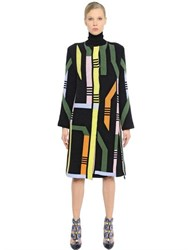 Peter Pilotto Geometric Ribbed Merino Wool Blend Coat
