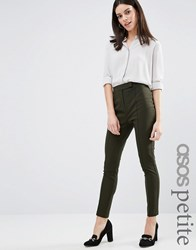 Asos Petite High Waist Trousers In Skinny Fit Forest Green