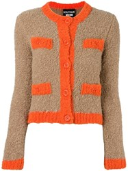 Boutique Moschino Contrast Trimmings Cardigan Brown