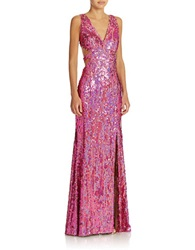 Hailey Logan Sequined Cutout Gown Fuchsia