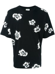 Saint Laurent Flower Print T Shirt Black