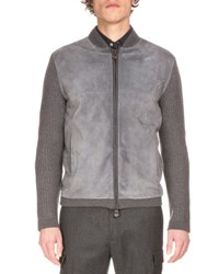 Berluti Zip Up Suede Front Wool Cardigan Fossil