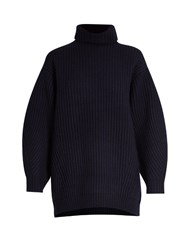 Acne Studios Isa Oversized Wool Sweater Navy